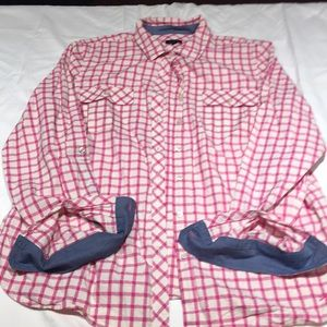 Talbots pink and white blouse with denim